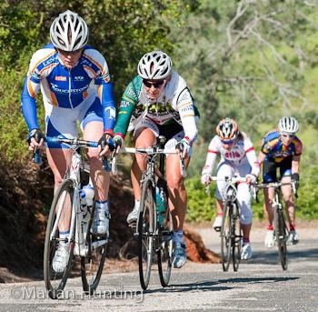 Olivia Dillon (Touchstone Climbing), Rachel Heal (Colavita Sutter Home), Marina Koshevaya (Third Pillar), Sarah Maile (Sacramento Cyclocross) finishing the second climb on the Copperopolis loop.