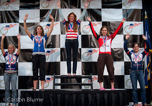 The Division 1 Individual Omnium podium with Chloe Forsman (University of Arizona), Jacquelyn Crowell (University of Florida), Carla Swart (Lees McRae), Anna McLoon (Harvard), and Melanie Meyers (University of Arizona) from left to right.