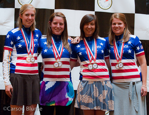 Whitman College in their new National Championship jerseys they earned upon winning the Division 2 Team Time Trial.